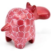 Vaneal Gourp Hand Crafted Carved Kisii Soapstone Red Hippopotamus Hippo Figurine image 4