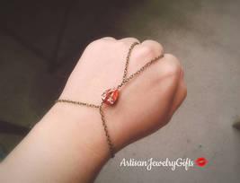 Bohemian Slave Bracelet Gem Hand Chain Rare Antique Gem Slave Bracelet B... - $62.00