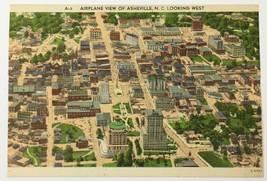Old Linen Era Postcard Airplane View of Asheville North Carolina NC Look... - $12.19