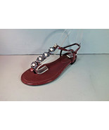 CHANEL 39.5 Burgundy Crackled Patent Camellia Pearls Thongs Sandals Flat... - $682.53