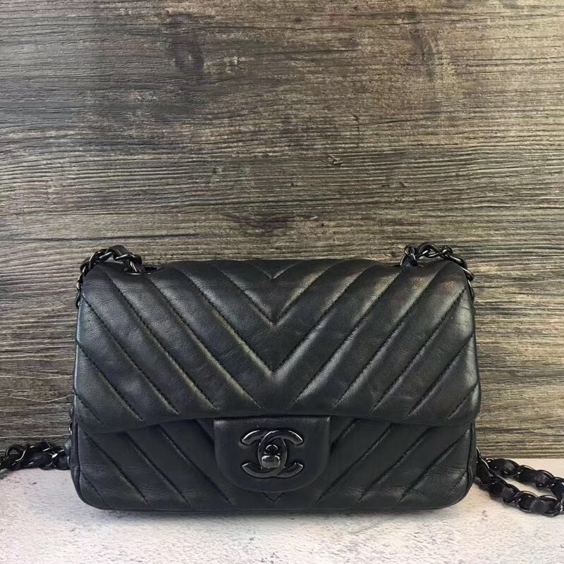 100% Auth Chanel SO BLACK Chevron Leather Large Mini 20CM Rectangular Flap Bag
