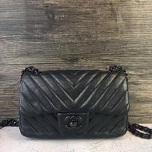 100% Auth Chanel SO BLACK Chevron Leather Large Mini 20CM Rectangular Flap Bag