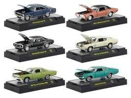 Detroit Muscle 6 Cars Set Release 45 IN DISPLAY CASES 1/64 Diecast Model Cars by - $49.94