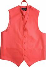 Men's Coral Adjustable Dress Vest & Neck Tie Set for Suit or Tuxedo 3XL