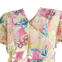 Cherokee Studio Psychedelic Blue Pink Orange Butterflies XL Yellow Scrub... - $17.81