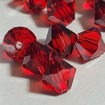 24pc Swarovski Crystal Light Siam Satin 6mm Bicone 5328 Beads (Lot 817) - $7.50