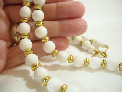 Trifari White Beads Gold Plate Spacers Necklace Strand String Elegant Classic