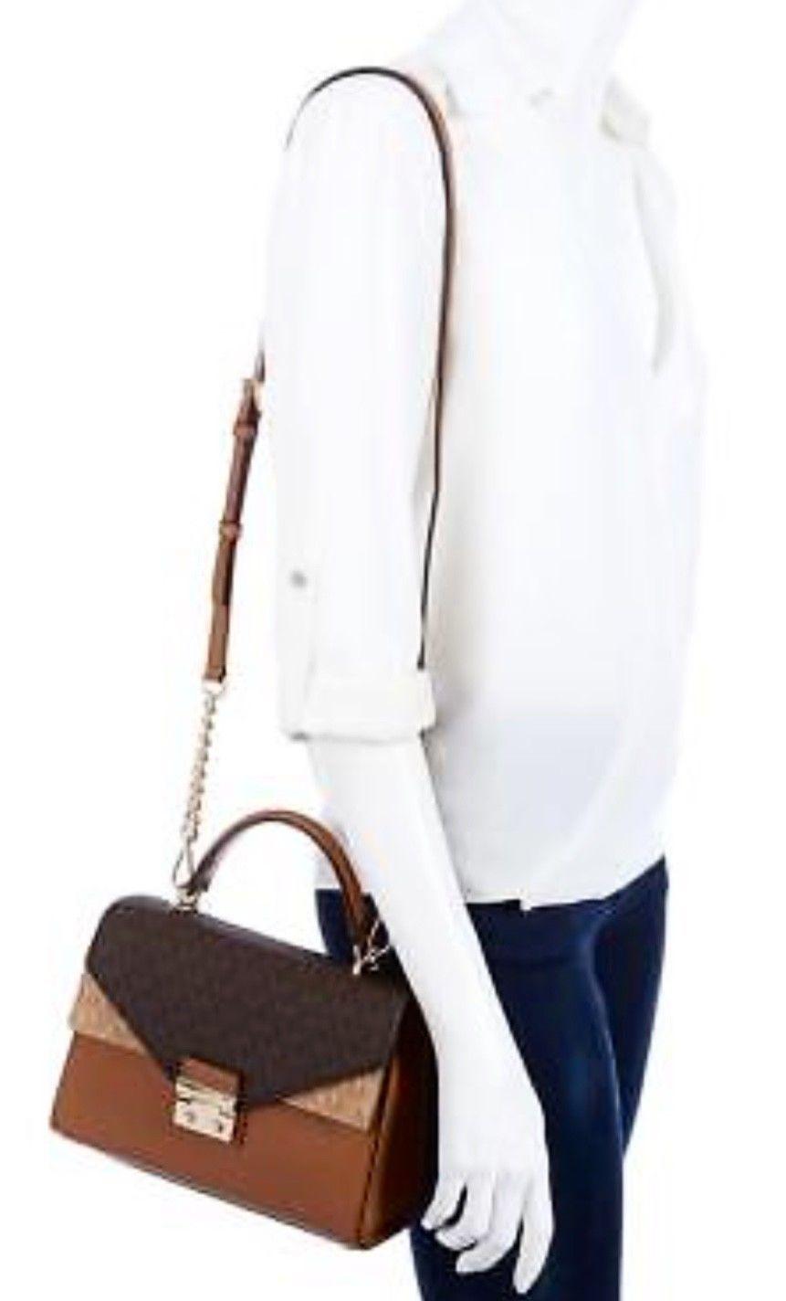 c930a610b3bf Michael Kors Sloan Top Handle Signature Logo Medium Satchel Bag, Acorn Brown