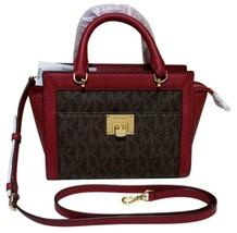 MICHAEL KORS Tina Messenger PVC Leather Satchel Bag Vivianne Brown Cherr... - $113.85