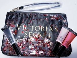 Victoria's Secret Lip Plumper Set W VS Sparkle Sequin Cosmetic Bag Gift Set NEW - $22.27
