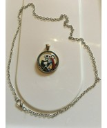 Nightmare Before Christmas Jack and Sally Glass Pendant Necklace Gift Art - $9.40
