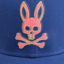 Psycho Bunny Men's Strapback Two Tone Skull Logo Deep Royal Baseball Cap Hat image 4