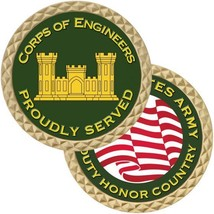 "ARMY CORPS OF ENGINEERS PROUDLY SERVED MILITARY 1.75"" CHALLENGE COIN  - $17.14"