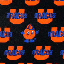 Syracuse Cuse Mens Neck Tie College University Logo Orange Silk Black Necktie image 2