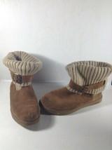 Womens Skechers Australia Leather Knit Boots Size 7 1/2 Chestnut - £16.60 GBP
