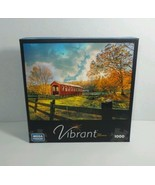 VIBRANT MEGA PUZZLE COUNTRY COVERED BRIDGE 1000 PIECES JIGSAW CWR86 ASST... - $6.85