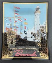 Vintage Bermuda Gibbs Hill Lighthouse Souvenir Trinket Dresser Square Gl... - $9.39