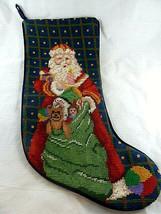 "Needlepoint stocking Santa Claus with Bag of Toys Christmas velvet back 18"" - $23.75"