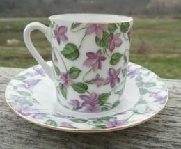 Vintage Porcelain Demitasse Cup & Saucer Lilac Flowers Gold Trim England - $15.35