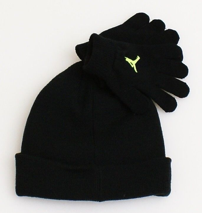 Nike Jordan Black & Volt Knit Cuff Beanie & Stretch Gloves Youth Boy's 4-7 NWT