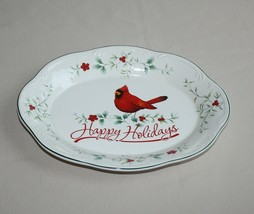 Happy Holidays Oval Scalloped Platter Pfaltzgraff Winterberry Red Cardinal  - $9.85