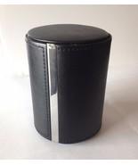 Traverse Silk Scarf  & Tie Travel Case Round Leather Luxury Black Silver... - $25.00