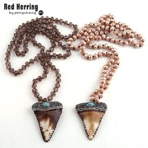 Free Shipping Long Crystal Glass Knotted Pave Crystal Teeth Pendant Necklaces - $18.55