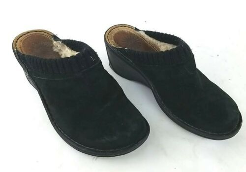 Primary image for Women's 7 M Ugg Gael 1934 Black Suede Clogs Fur Lined Shoes Slip-On Wedge Mules
