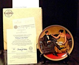 Flirting in The Parlor by Norman Rockwell Plate with Box ( Knowles ) AA20-CP2171 image 3