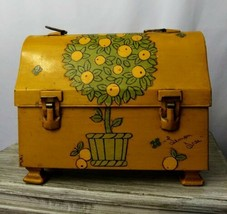 Vintage American Thermo Products Lunch Box Painted Decoupage Lemon Tree ... - $44.55