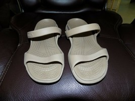 CROCS Tan Slip On Strappy Slip On Open Toe Sandals Size 6 Woman's EUC - $24.00