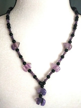 Natural Stone Bear Beaded Necklace w/ Fluorite Bears Amethyst Obsidian  - $24.74