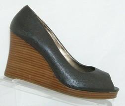 Ann Taylor LOFT black leather peep toe slip on stacked platform wedges 9M - $28.63