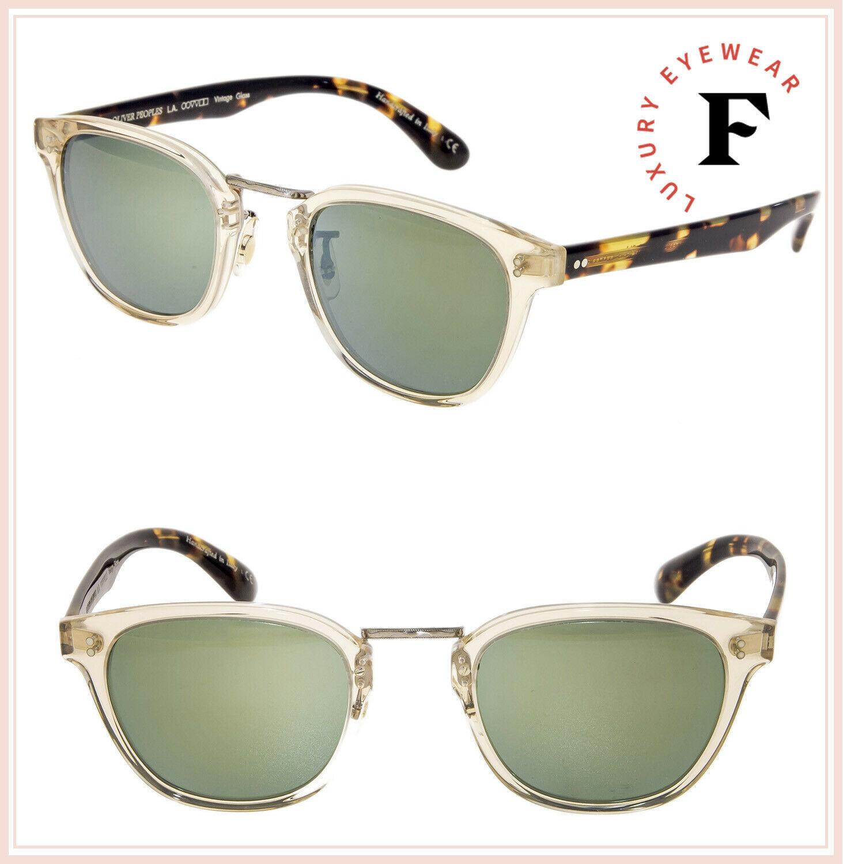 Oliver Peoples LERNER Retro Sunglasses OV5369S Buff Tortoise Green Mirror Unisex