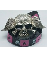 Unique Skull with White Rhinestones Belt Buckle Enameled Large w Pink Bl... - $22.95