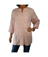 AUTOGRAPH WOMAN 2X pink linen flax blouse ¾ slv tunic pintucks embroider... - $23.76