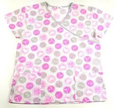 Scrubs.com Womens Size Medium Love Breast Cancer Awareness Nursing Scrub Top EUC - $13.09