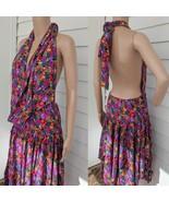 Backless Dress Open Back or Wrap Skirt 80s Bellydance Floral Print Hanky... - $43.00