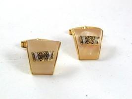 Vintage Goldtone & Lucite Damascene Cufflinks marked SPAIN 31417 - $18.99