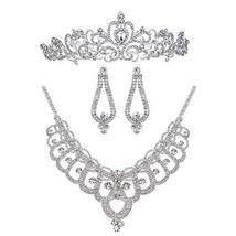 Bella-Vogue Rhinestone Crystal Statement Bridal Necklace + Earrings + Cr... - $23.76