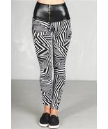 Women's white high waist vegan leather band leggings - $13.75