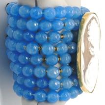 925 STERLING SILVER BRACELET BEAUTIFUL BIG LADY FLOWER CAMEO & BLUE JADE, ITALY image 2