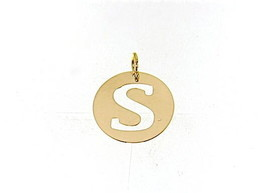 18K YELLOW GOLD LUSTER ROUND MEDAL WITH LETTER S MADE IN ITALY DIAMETER 0.5 IN image 1