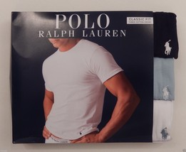 3 POLO RALPH LAUREN COTTON WHITE BLUE CREW T-SHIRTS UNDERSHIRTS S M L XL... - $33.56+
