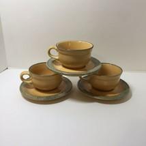 3 Cups & Saucers America Pfaltzgraff MAFA 100 Folk Art 8 oz  - $22.24