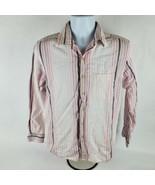 Tasso Elba Island Mens Button Front Shirt Sz S Sm Linen Blend Pink Striped - $21.76