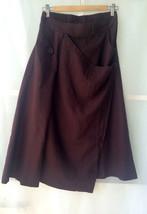 Women Long Wrap Skirt Summer Linen Cotton Skirt Elastic Waist Brown Black Gray image 2