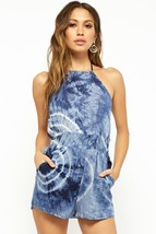 Forever 21 Tie Dye Romper Halter Blouse Dress Shorts Smocked Waist Navy ... - $11.00