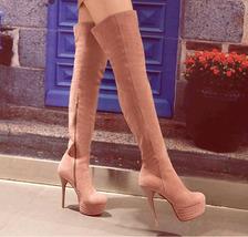 PB171 European style knight boots, stiletto, 13.6 cm heels, size 4-10.5, pink - $78.80