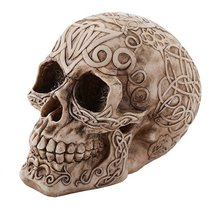 Pacific Giftware Celtic Owl Knotwork Human Skull Statue Gothic Pagan - $14.99